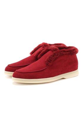 Женские замшевые ботинки open walk LORO PIANA бордового цвета, арт. FAG3602   Фото 1
