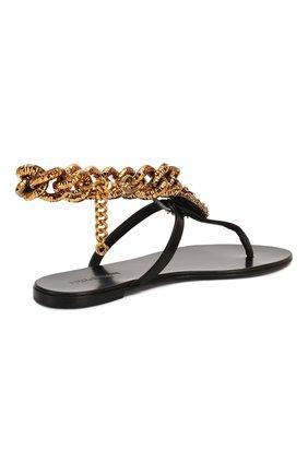 Женские кожаные сандалии infradito DOLCE & GABBANA черного цвета, арт. CQ0332/AX059 | Фото 4