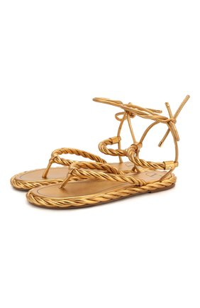 Женские кожаные сандалии valentino garavani the rope VALENTINO золотого цвета, арт. TW0S0Y15/FJF | Фото 1