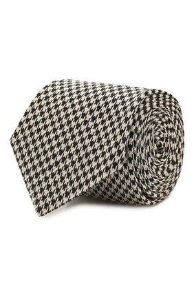 Мужской галстук из смеси шелка и хлопка GUCCI черно-белого цвета, арт. 597110/4E829 | Фото 1