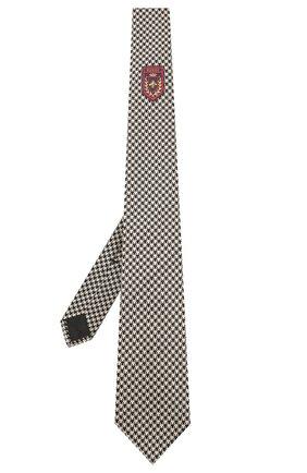 Мужской галстук из смеси шелка и хлопка GUCCI черно-белого цвета, арт. 597110/4E829 | Фото 2