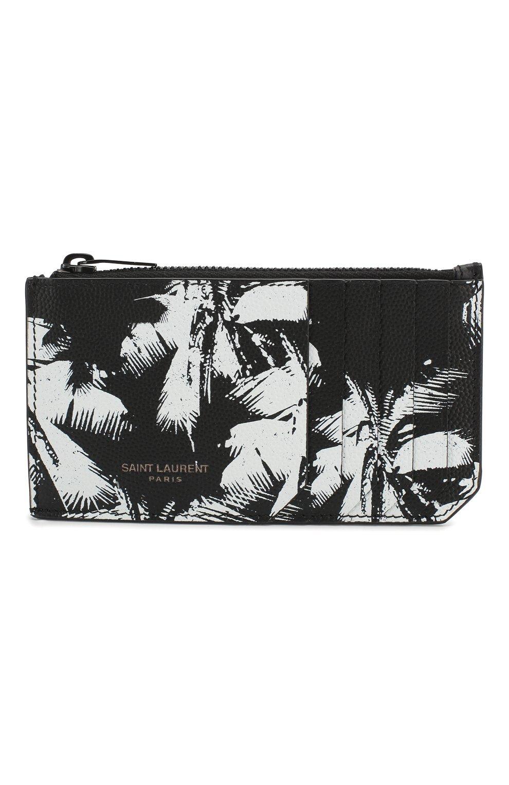 Мужской кожаный футляр для кредитных карт SAINT LAURENT черно-белого цвета, арт. 609362/1FHAU   Фото 1