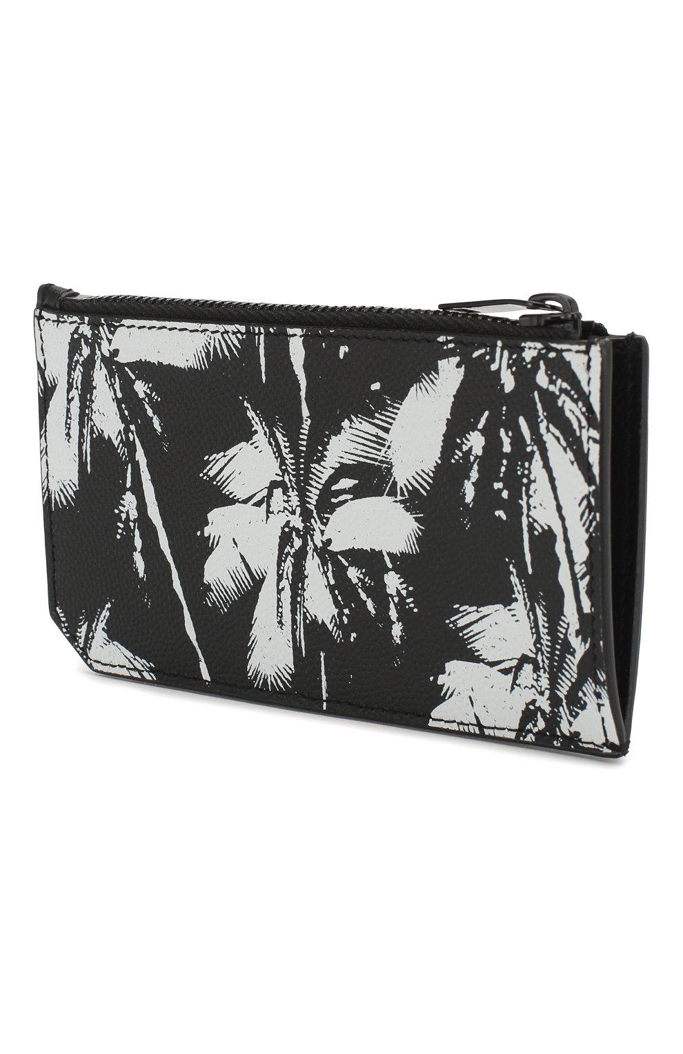 Мужской кожаный футляр для кредитных карт SAINT LAURENT черно-белого цвета, арт. 609362/1FHAU   Фото 2
