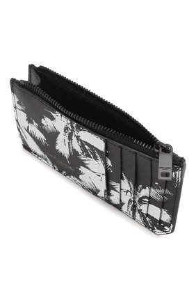 Мужской кожаный футляр для кредитных карт SAINT LAURENT черно-белого цвета, арт. 609362/1FHAU   Фото 3