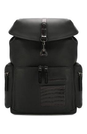 Мужской кожаный рюкзак ERMENEGILDO ZEGNA черного цвета, арт. C1555E-LHAPS/AMIS   Фото 1