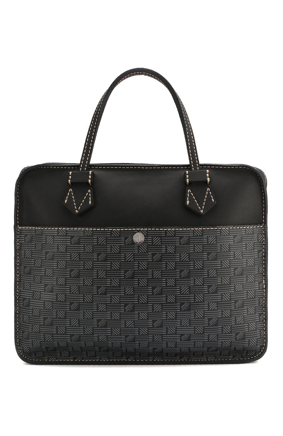 Мужская кожаная сумка для ноутбука MOREAU темно-серого цвета, арт. SCAPMMIBVBBNSTB | Фото 1