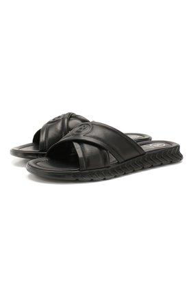 Мужские кожаные шлепанцы BOGNER черного цвета, арт. 101-A501/ACAPULK0 1A | Фото 1