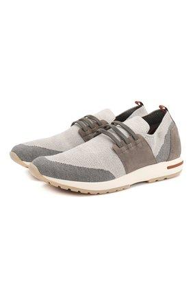 Мужские текстильные кроссовки 360 lp flexy walk LORO PIANA светло-серого цвета, арт. FAL1116 | Фото 1