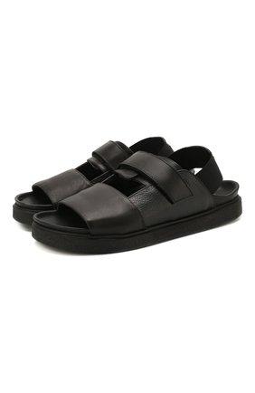 Мужские кожаные сандалии INUIKII черного цвета, арт. 50105-23 | Фото 1