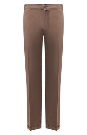 Мужской льняные брюки KITON коричневого цвета, арт. UFPLACJ07S40/44-52 | Фото 1