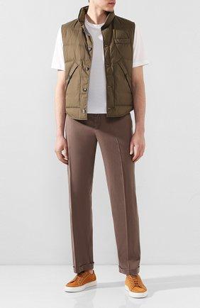Мужской льняные брюки KITON коричневого цвета, арт. UFPLACJ07S40/44-52 | Фото 2
