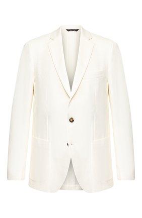 Мужской пиджак из смеси хлопка и льна LORO PIANA белого цвета, арт. FAL0965 | Фото 1