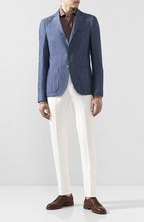 Мужской пиджак из смеси хлопка и льна LORO PIANA синего цвета, арт. FAL0961 | Фото 2