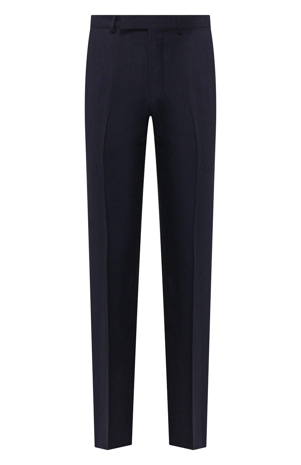 Мужские брюки из смеси льна и шерсти ERMENEGILDO ZEGNA темно-синего цвета, арт. 770F04/75TB12   Фото 1
