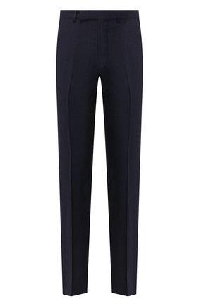 Мужские брюки из смеси льна и шерсти ERMENEGILDO ZEGNA темно-синего цвета, арт. 770F04/75TB12 | Фото 1 (Длина (брюки, джинсы): Стандартные; Материал подклада: Вискоза; Материал внешний: Лен, Шерсть; Случай: Формальный; Стили: Классический)
