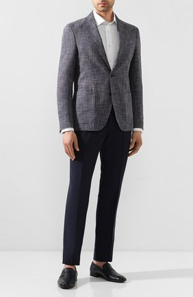 Мужские брюки из смеси льна и шерсти ERMENEGILDO ZEGNA темно-синего цвета, арт. 770F04/75TB12   Фото 2