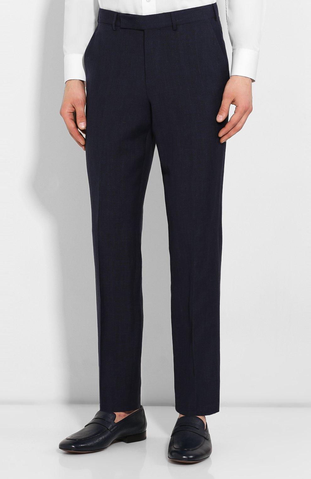 Мужские брюки из смеси льна и шерсти ERMENEGILDO ZEGNA темно-синего цвета, арт. 770F04/75TB12   Фото 3
