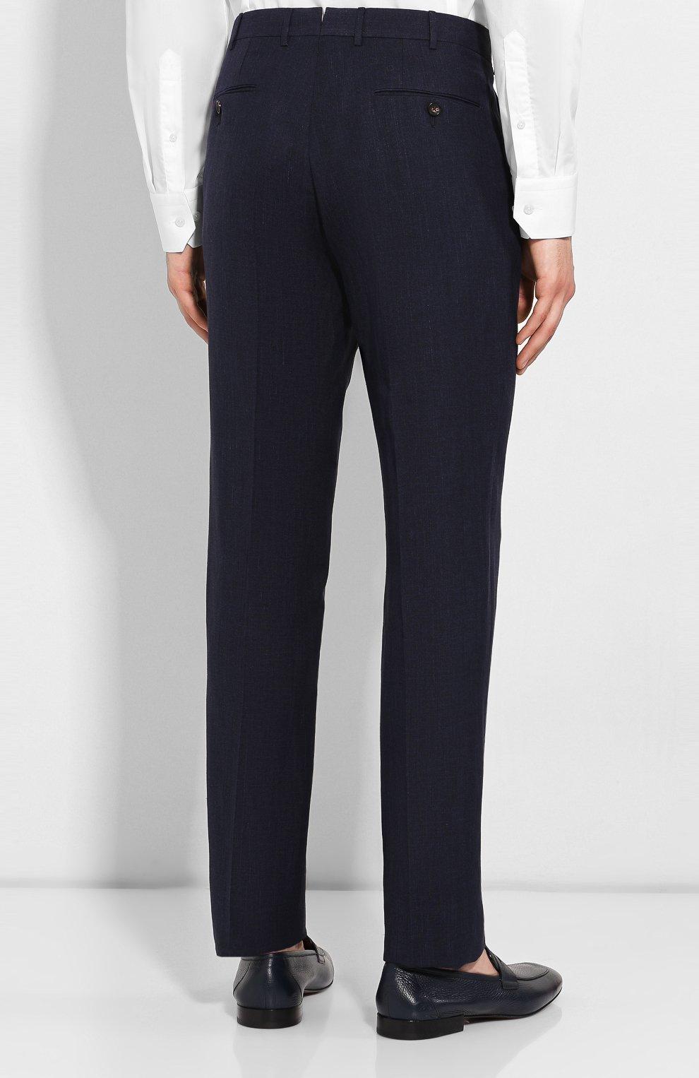 Мужские брюки из смеси льна и шерсти ERMENEGILDO ZEGNA темно-синего цвета, арт. 770F04/75TB12   Фото 4