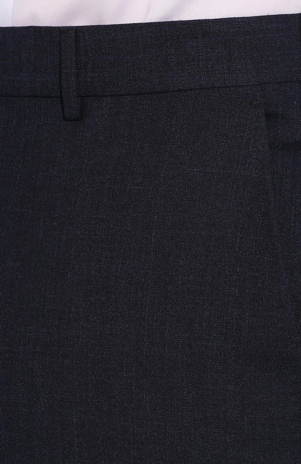 Мужские брюки из смеси льна и шерсти ERMENEGILDO ZEGNA темно-синего цвета, арт. 770F04/75TB12   Фото 5