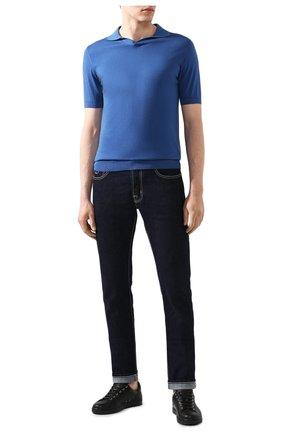 Мужское хлопковое поло FEDELI синего цвета, арт. 3UED5914 | Фото 2
