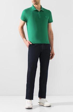 Мужское хлопковое поло MONCLER зеленого цвета, арт. F1-091-8A710-00-83921 | Фото 2