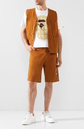 Мужские джинсовые шорты BAPE коричневого цвета, арт. 1F20151003   Фото 2