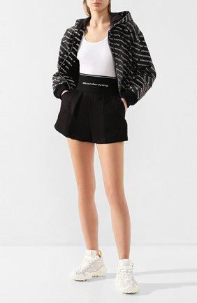 Женские хлопковые шорты ALEXANDER WANG черного цвета, арт. 1WC1204224   Фото 2