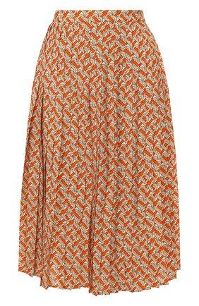 Женская плиссированная юбка BURBERRY оранжевого цвета, арт. 8025809 | Фото 1