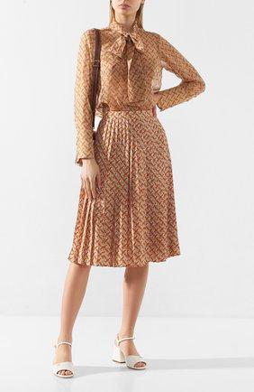 Женская плиссированная юбка BURBERRY оранжевого цвета, арт. 8025809 | Фото 2