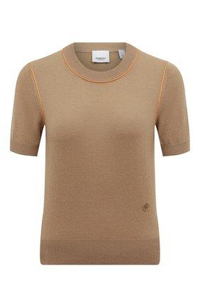 Женская кашемировый пуловер BURBERRY бежевого цвета, арт. 8026295 | Фото 1