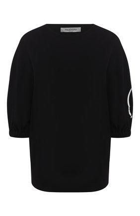 Женская хлопковая футболка VALENTINO черно-белого цвета, арт. TB0MG05T5F8 | Фото 1