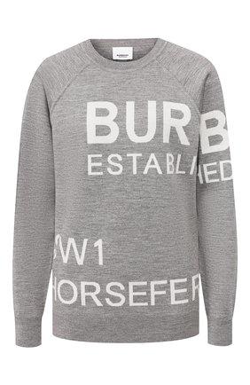 Женская шерстяной пуловер BURBERRY серого цвета, арт. 8028718 | Фото 1