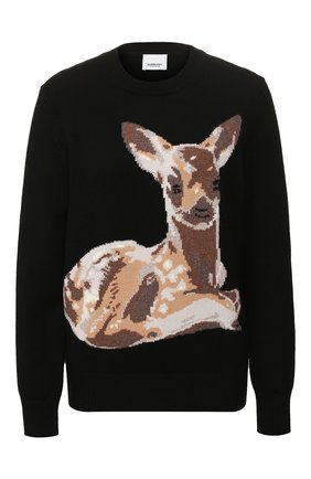 Женская шерстяной пуловер BURBERRY черного цвета, арт. 8026297 | Фото 1