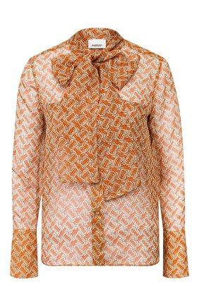 Женская шелковая блузка BURBERRY оранжевого цвета, арт. 8025806 | Фото 1