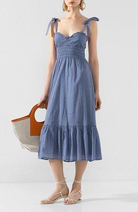 Женское хлопковое платье POLO RALPH LAUREN синего цвета, арт. 211793005 | Фото 2