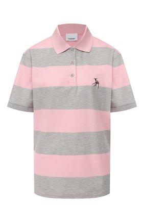 Женское хлопковое поло BURBERRY розового цвета, арт. 8029623 | Фото 1