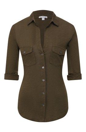 Женская хлопковая рубашка JAMES PERSE хаки цвета, арт. WUA3042 | Фото 1