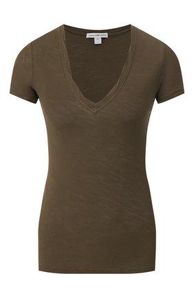 Женская хлопковая футболка JAMES PERSE хаки цвета, арт. WUA3695 | Фото 1