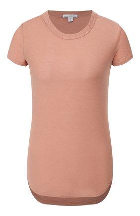 Женская хлопковая футболка JAMES PERSE бежевого цвета, арт. WUA3037 | Фото 1