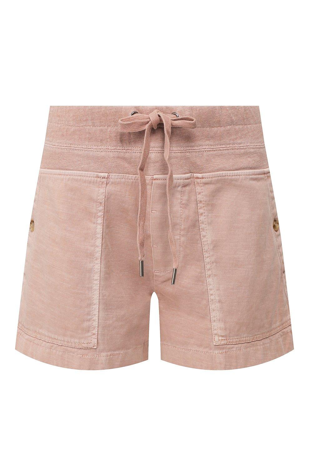 Женские хлопковые шорты JAMES PERSE розового цвета, арт. WACS4271 | Фото 1 (Женское Кросс-КТ: Шорты-одежда; Длина Ж (юбки, платья, шорты): Мини; Материал внешний: Хлопок; Стили: Спорт-шик)