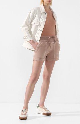 Женские хлопковые шорты JAMES PERSE розового цвета, арт. WACS4271 | Фото 2 (Женское Кросс-КТ: Шорты-одежда; Длина Ж (юбки, платья, шорты): Мини; Материал внешний: Хлопок; Стили: Спорт-шик)