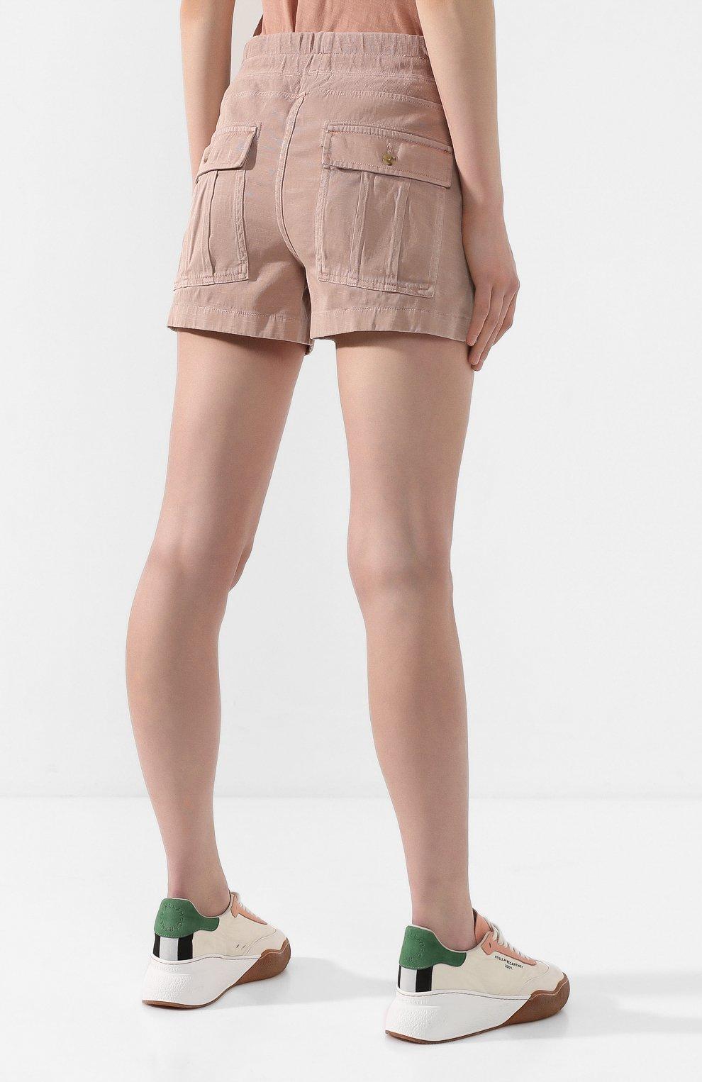 Женские хлопковые шорты JAMES PERSE розового цвета, арт. WACS4271 | Фото 4 (Женское Кросс-КТ: Шорты-одежда; Длина Ж (юбки, платья, шорты): Мини; Материал внешний: Хлопок; Стили: Спорт-шик)