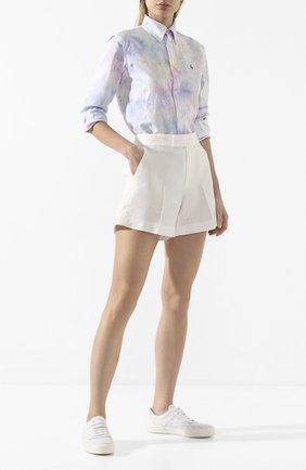 Женские льняные шорты POLO RALPH LAUREN белого цвета, арт. 211793204 | Фото 2