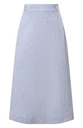 Женская льняная юбка POLO RALPH LAUREN голубого цвета, арт. 211793238 | Фото 1