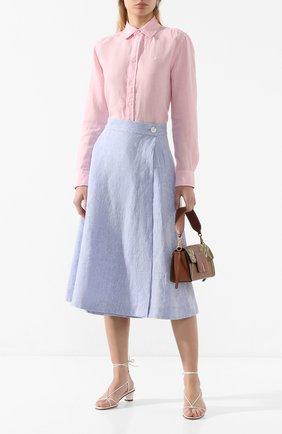 Женская льняная юбка POLO RALPH LAUREN голубого цвета, арт. 211793238 | Фото 2
