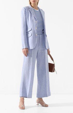 Женские льняные брюки POLO RALPH LAUREN голубого цвета, арт. 211793258 | Фото 2