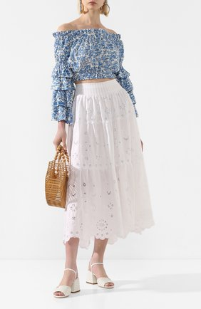 Женская хлопковая юбка POLO RALPH LAUREN белого цвета, арт. 211793016 | Фото 2