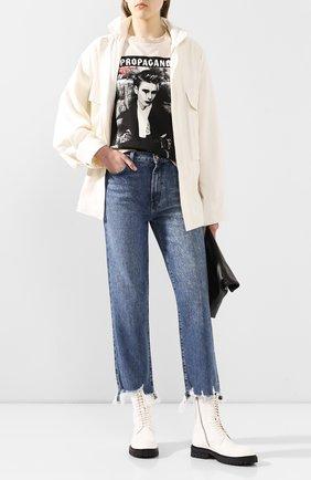 Женская куртка из смеси шелка и льна Y`S черно-белого цвета, арт. YN-Y42-430 | Фото 2