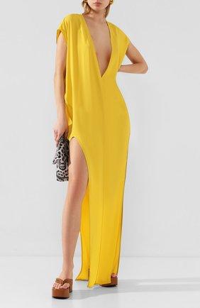 Женское платье-макси RICK OWENS желтого цвета, арт. R020S1590/CC | Фото 2