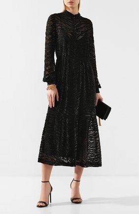 Женское шелковое платье SAINT LAURENT черного цвета, арт. 615093/Y115W | Фото 2